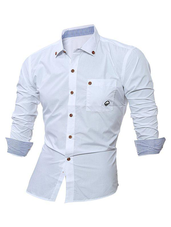 Long Sleeve Embroidered Button Down Shirt - WHITE L