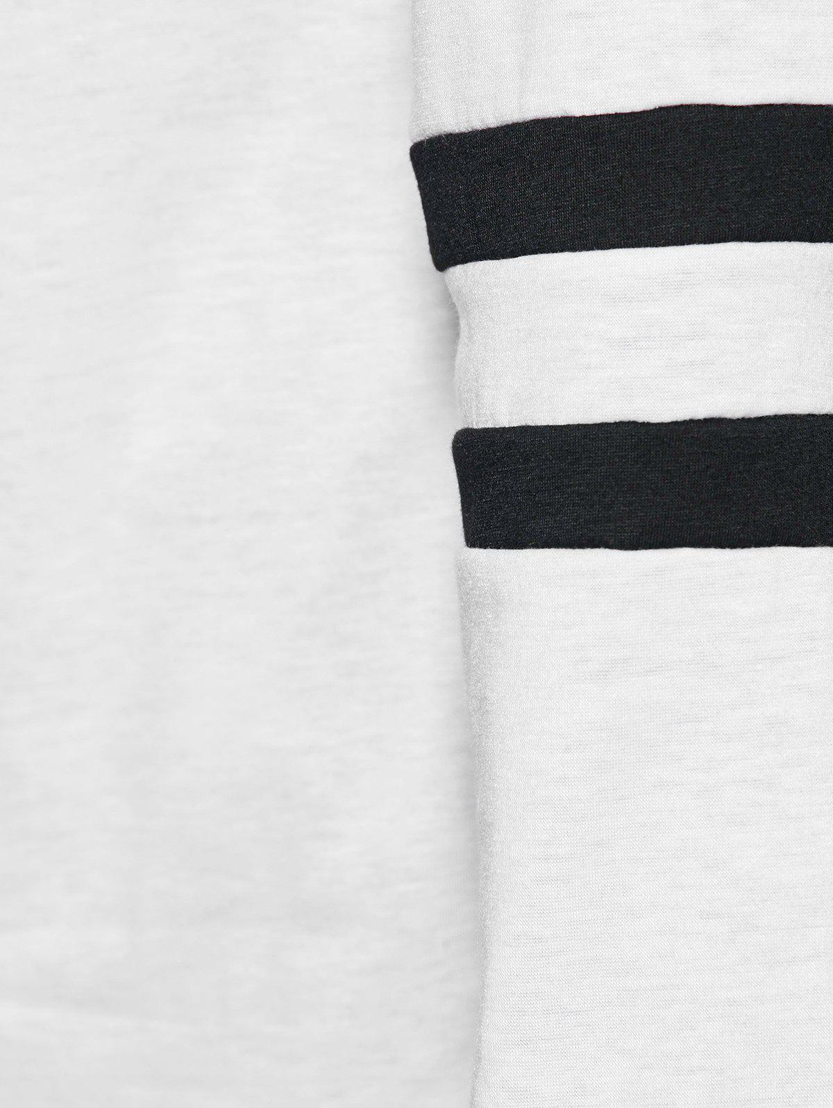 Striped Button Embellished T-Shirt - WHITE S