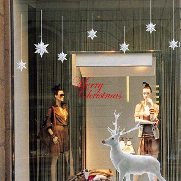 Christmas Elk Glass Window Removable Wall StickersHome<br><br><br>Color: WHITE