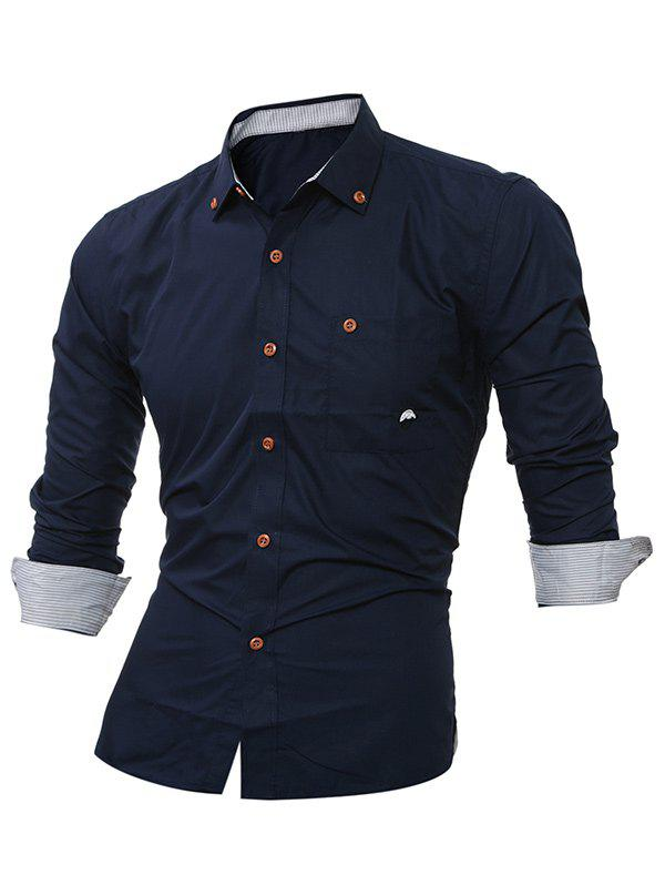 Long Sleeve Embroidered Button Down Shirt - CADETBLUE M