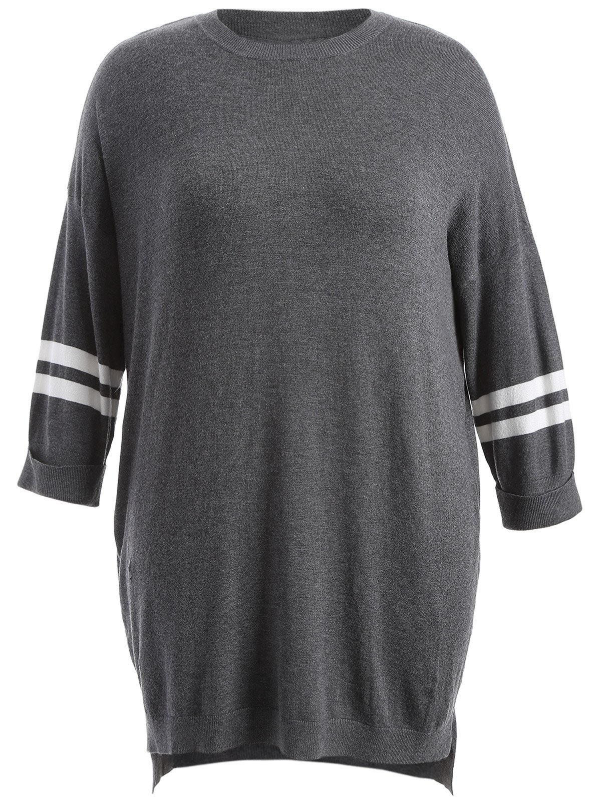High-Low Striped Sweater Dress - DEEP GRAY ONE SIZE