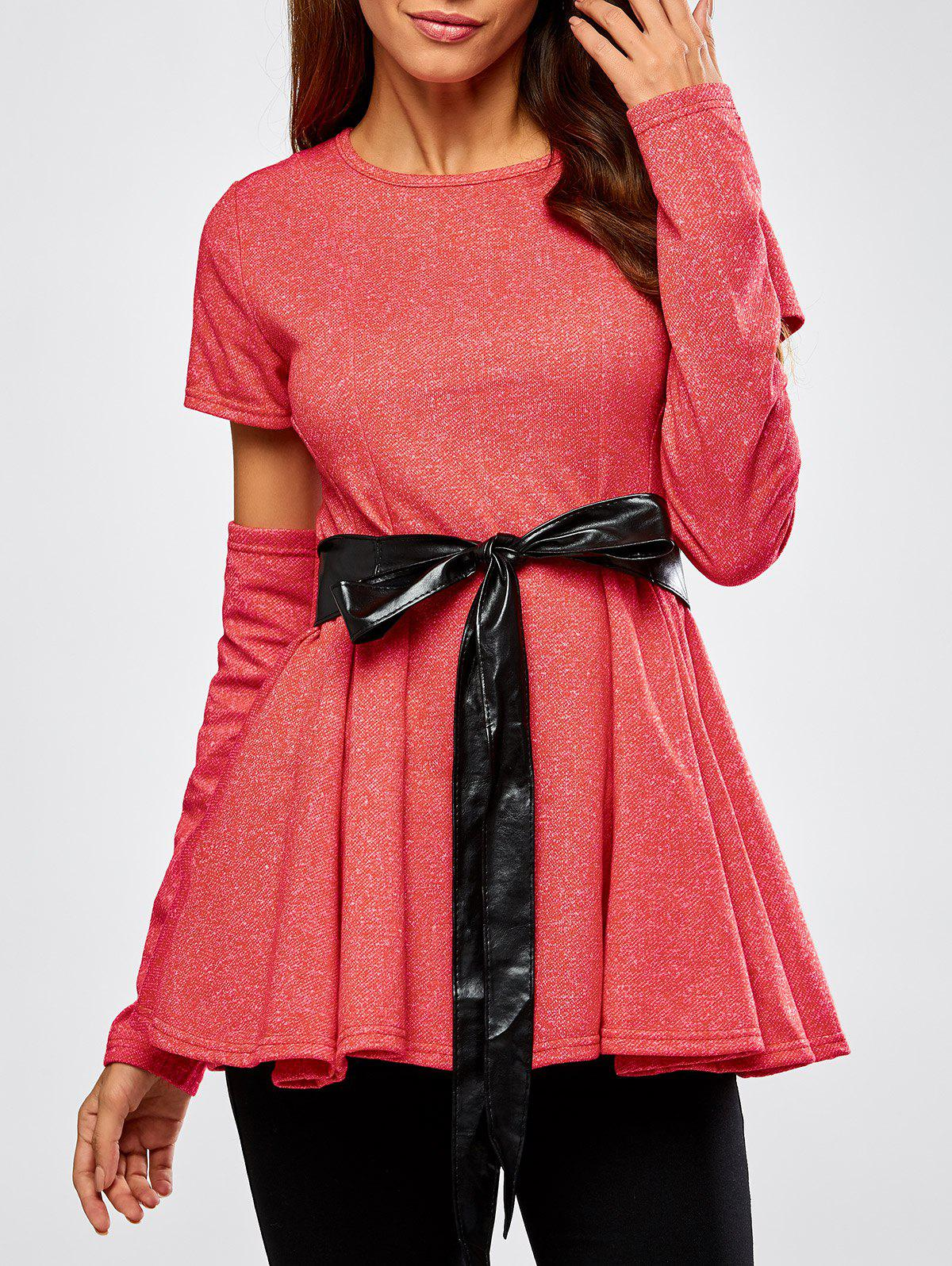 Detachable Sleeve Belted Skirted Top - WATERMELON RED M