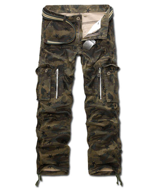 2018 Camo Drawstring Cuff Zippered Cargo Pants ARMY GREEN CAMOUFLAGE