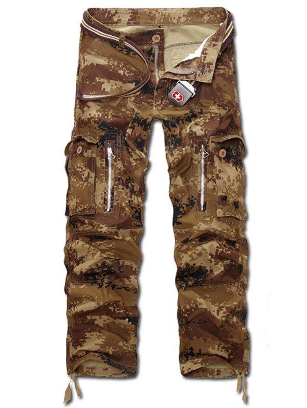 Zippered Camo Multi-Poches Pantalon Cargo - Terreux 28