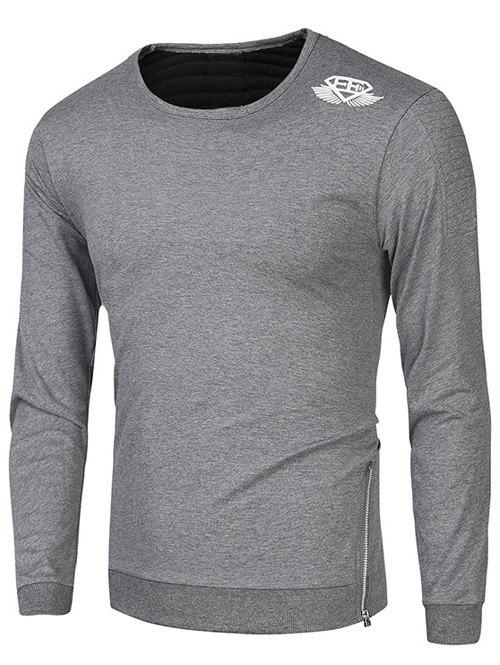 Side Zipper Design Crew Neck Wing Print SweatshirtMen<br><br><br>Size: 2XL<br>Color: GRAY