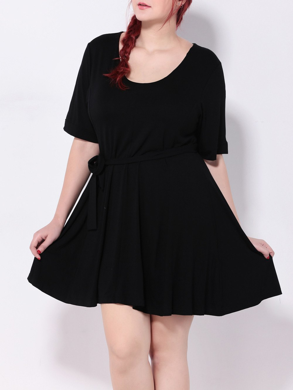 High Waist Tied Belt Swing Dress - BLACK 4XL