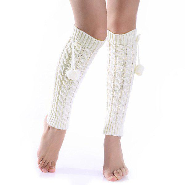Pompon Bowknot Pendant Hemp Flowers Leg Warmers - OFF WHITE