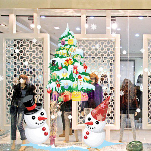 Christmas Snowmans and Multicolor Tree Glass Window Removable Wall Stickers - COLORFUL