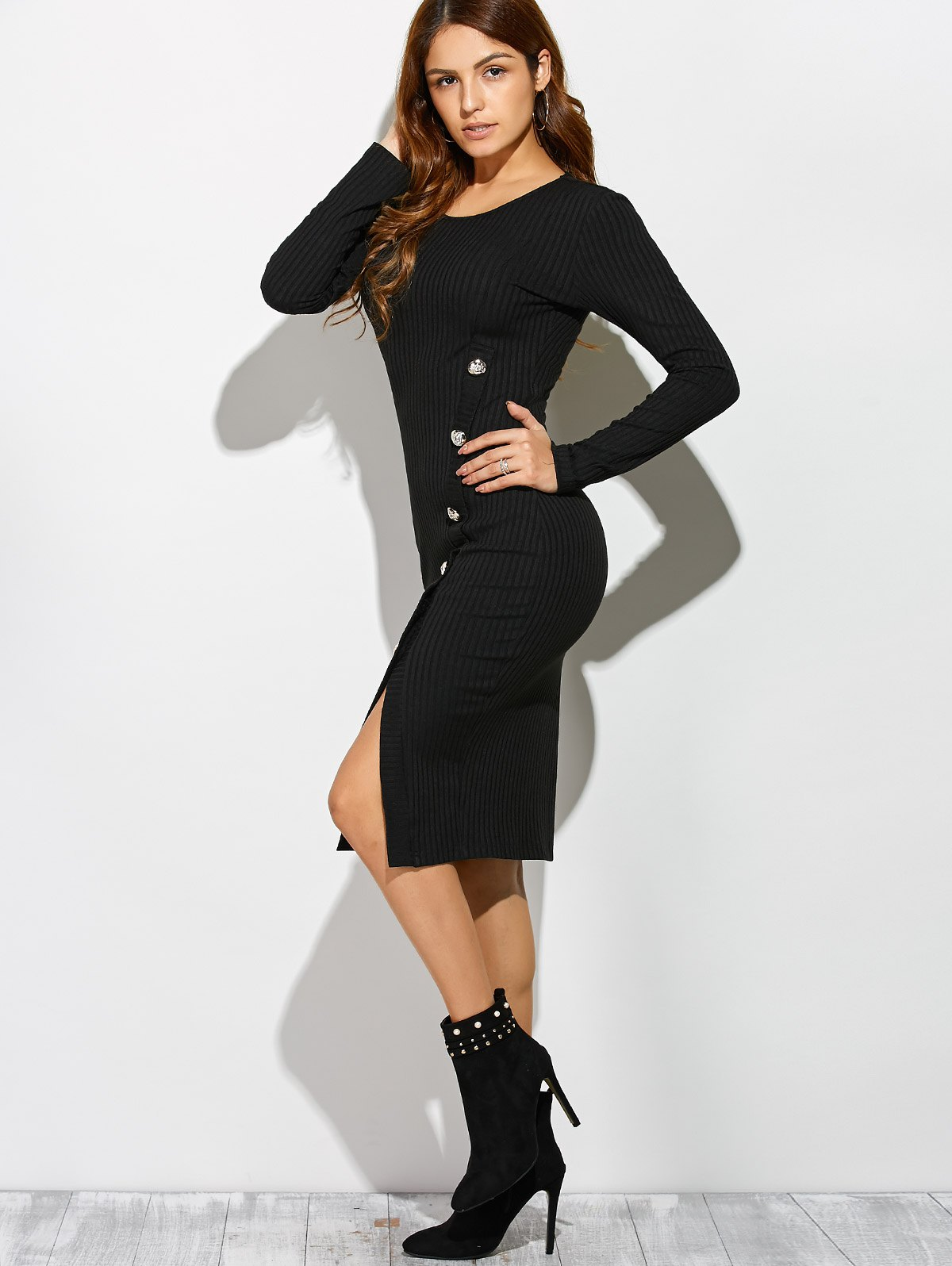 Side Slit Button Up Long Sleeve Knit Dress - BLACK L