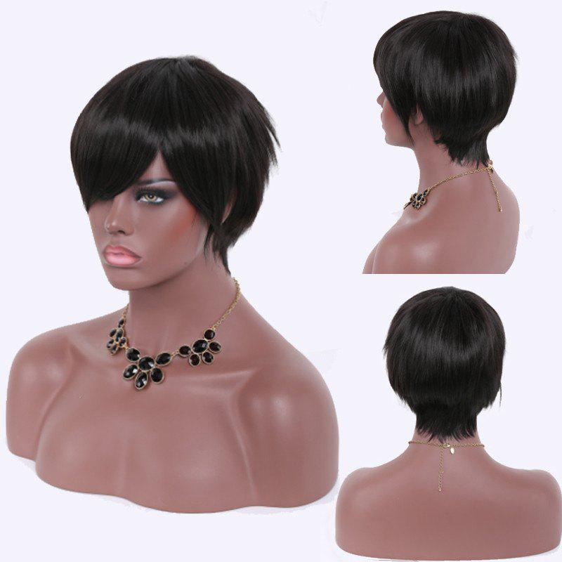 Heat Resistant Fiber Spiffy Ultrashort Natural Black Capless Side Bang Straight Wig For Women - BLACK