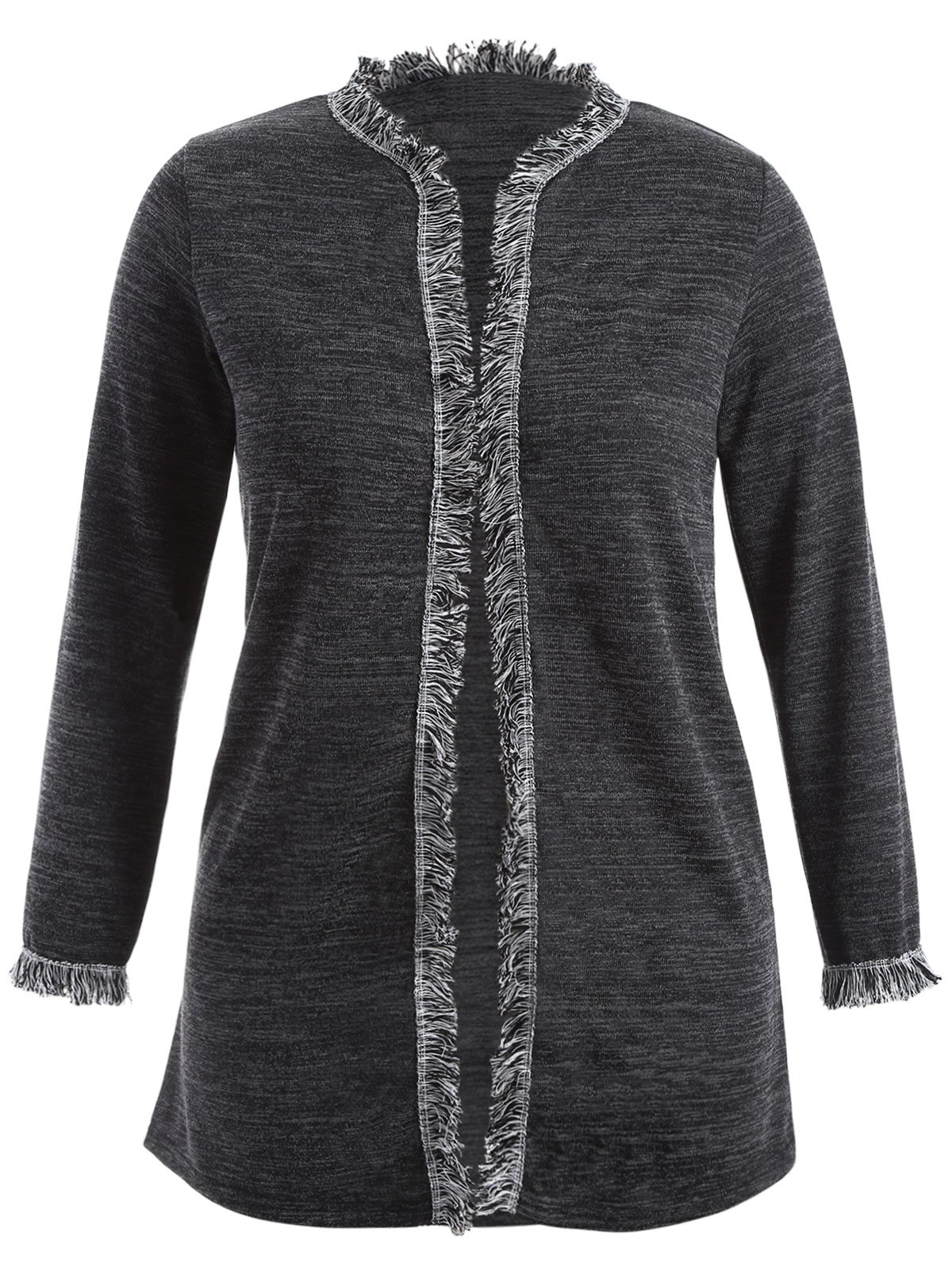 Fringed Plus Size Cardigan - DEEP GRAY 3XL