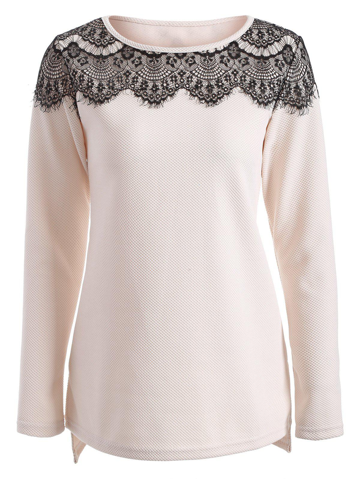 Lace Insert High Low T Shirt - OFF WHITE XL