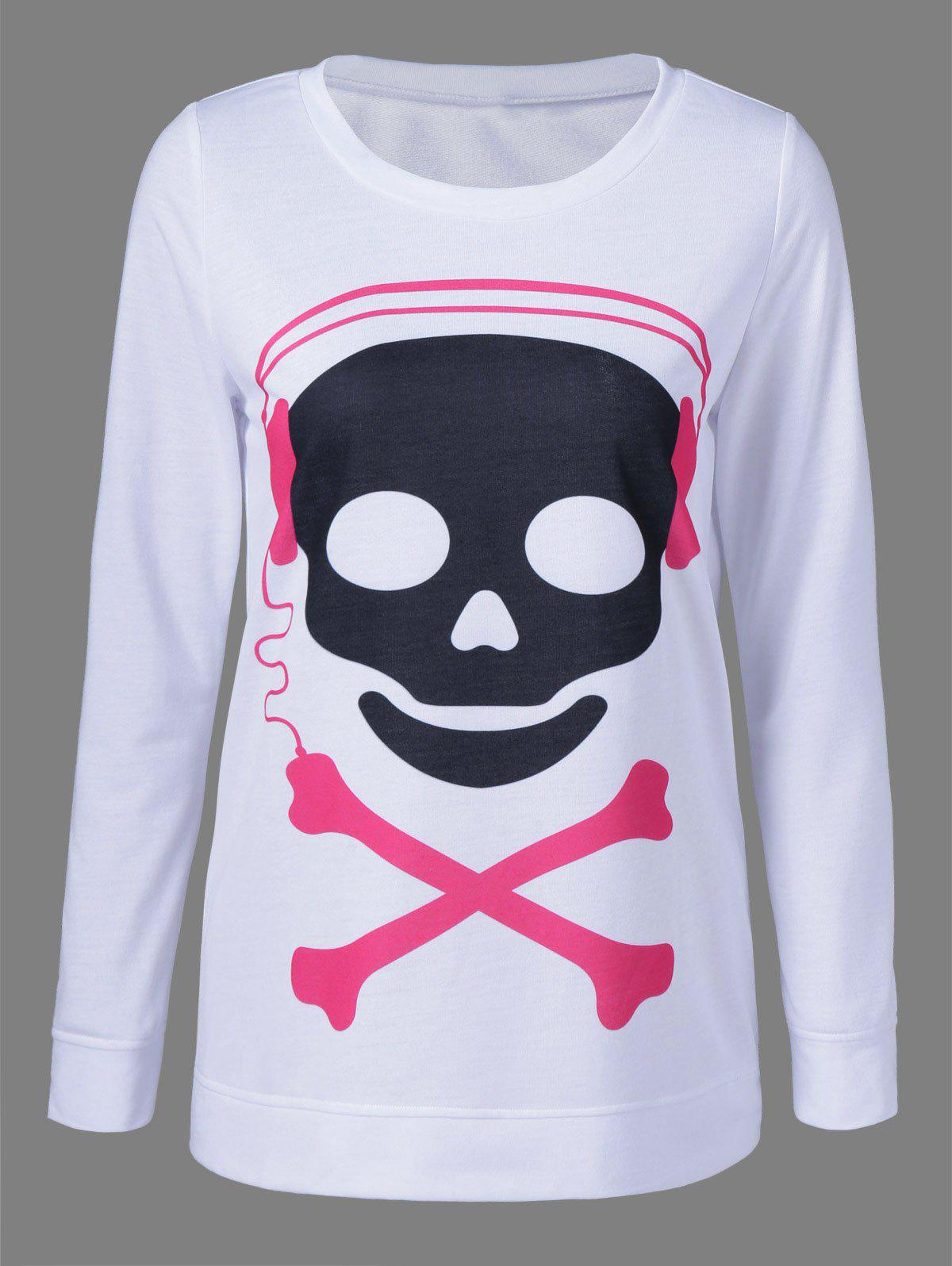 Skull Long Sleeve T-Shirt - WHITE L