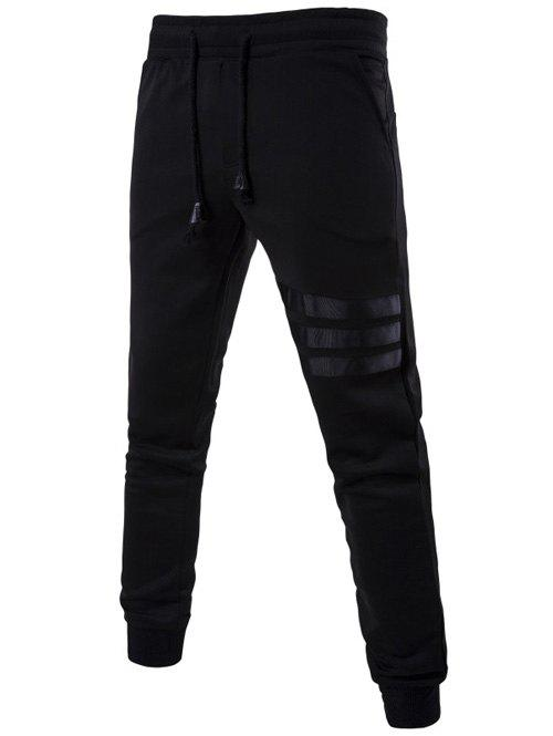 Drawstring Mid Rise Striped Jogger Pants - BLACK M