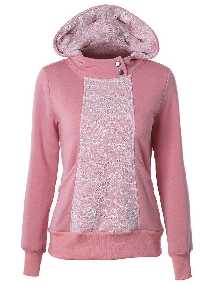 Lace Detail Pullover Pink HoodieWomen<br><br><br>Size: M<br>Color: PINK
