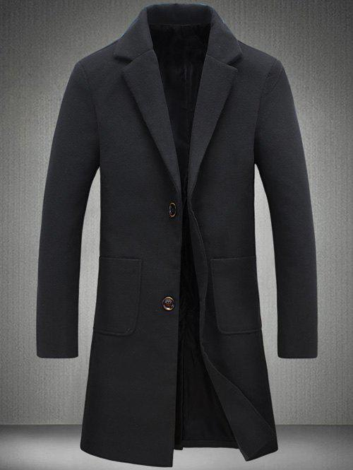 Retour Vent Coat Notch Lapel Patch Pocket Woolen - Noir 4XL