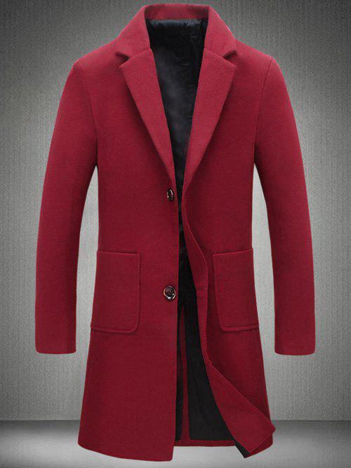 Retour Vent Coat Notch Lapel Patch Pocket Woolen - Rouge vineux 4XL