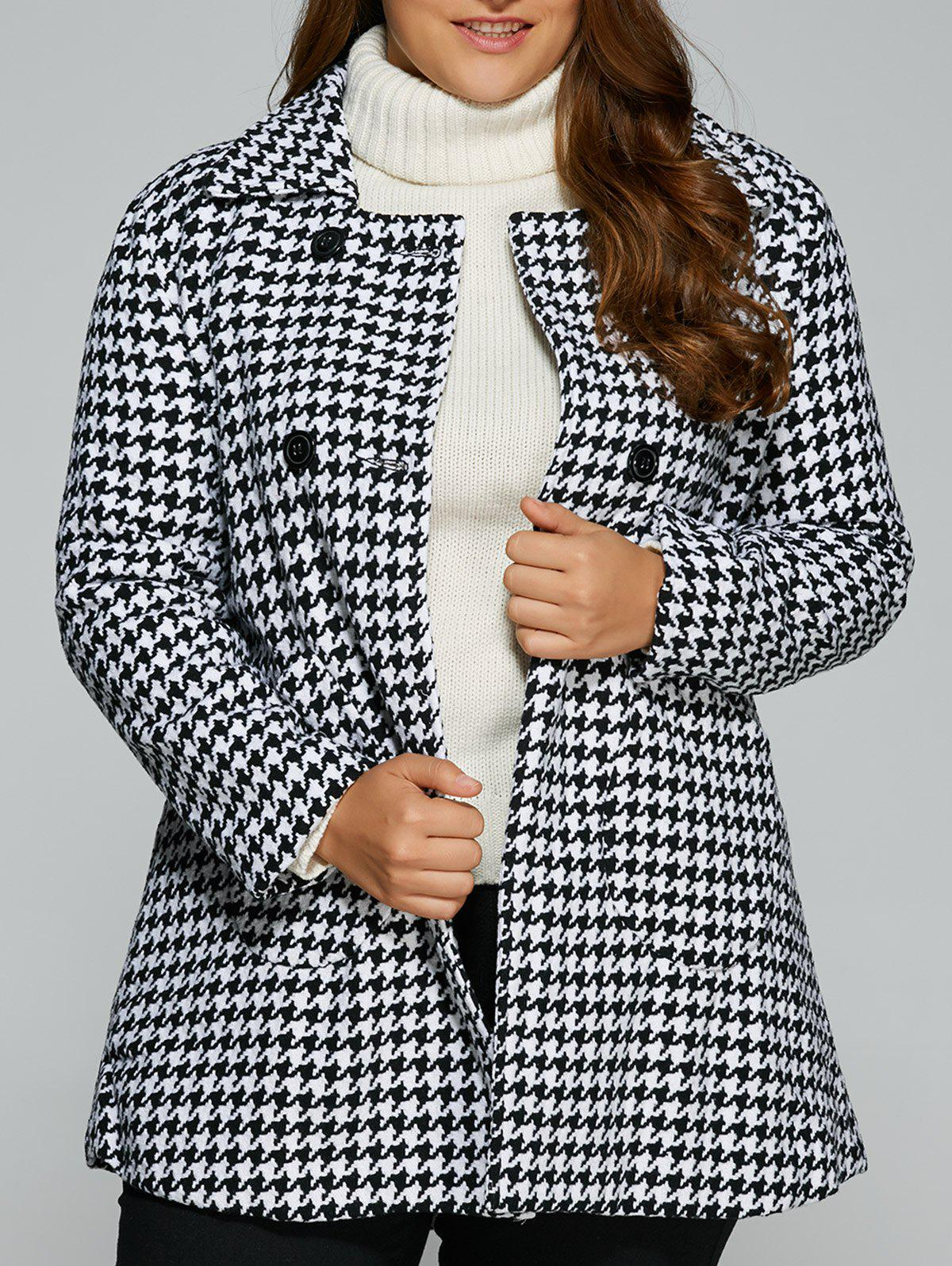 Warm Plus Size Houndstooth Coat - WHITE 2XL
