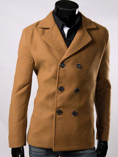 Lapel Collar Double Breasted Wool Blend Coat - BROWN L