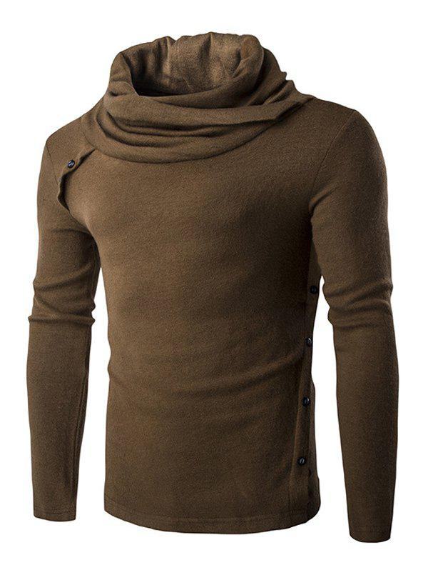 Vogue Heaps Collar Button Embellished Solid Color Men's Long Sleeves Sweater - COFFEE L