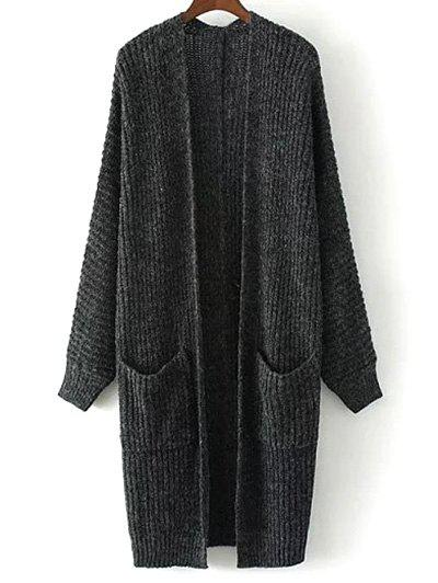 Collarless Double Pockets Knitted Cardigan - DEEP GRAY M