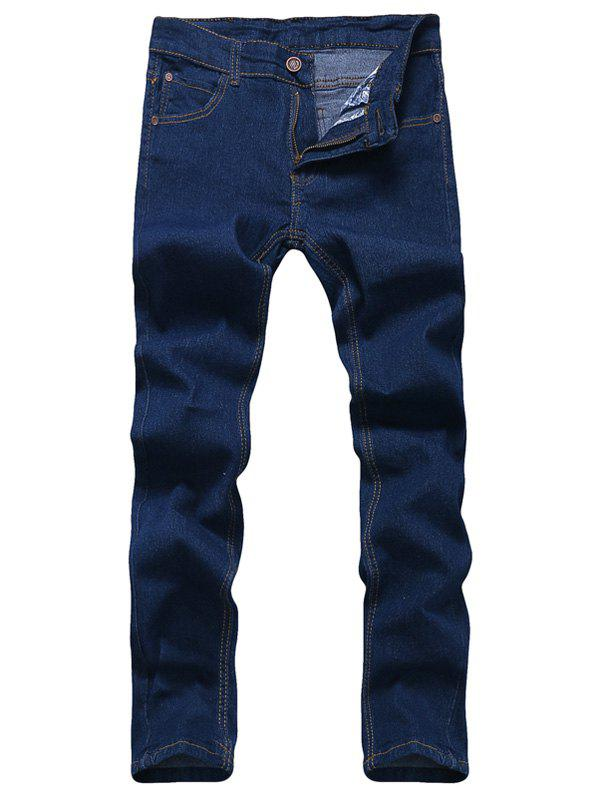 Solid Color Zipper Fly Men's Straight Leg Jeans, Blue