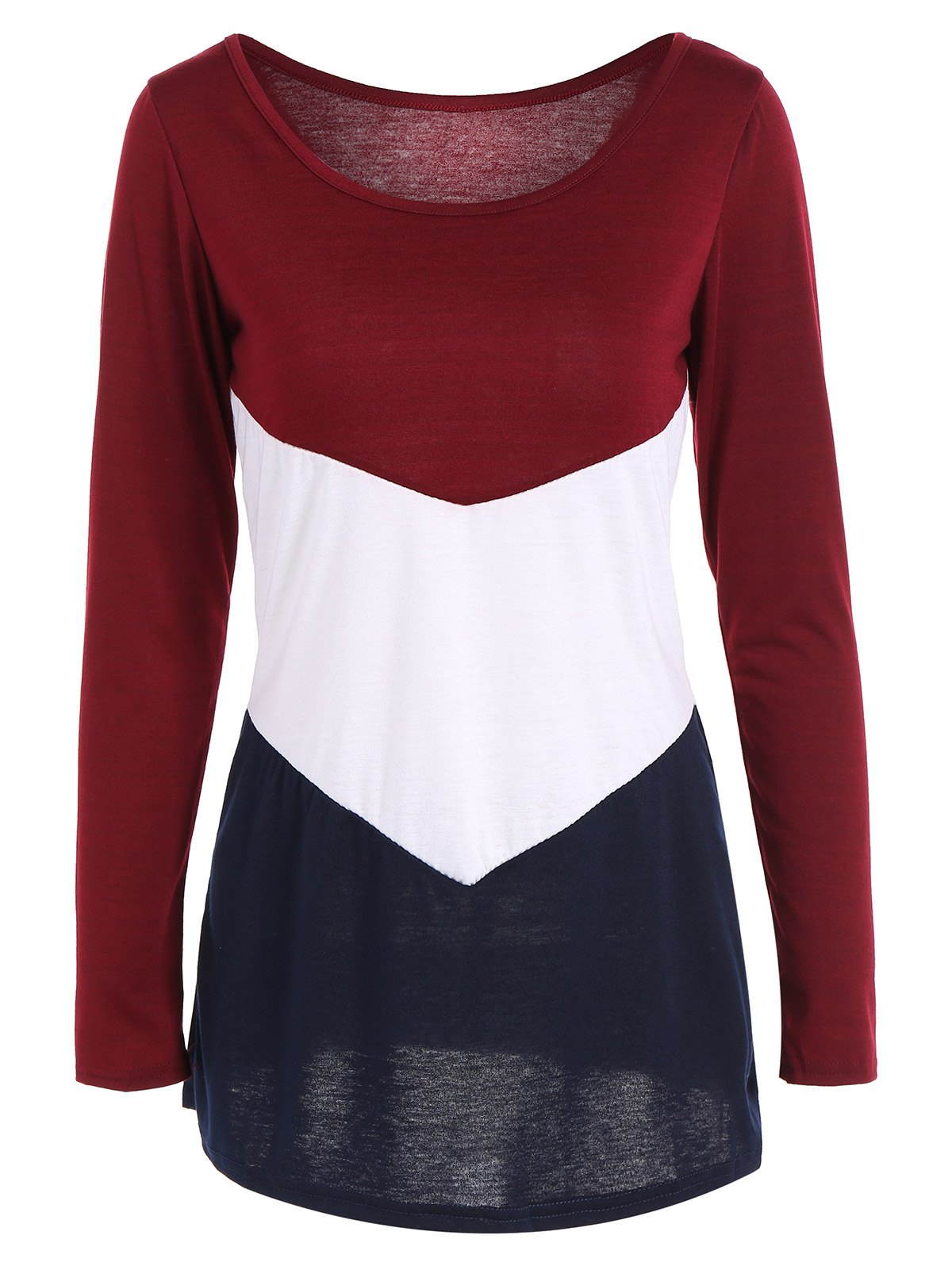 Long Sleeve Color Block T ShirtWomen<br><br><br>Size: S<br>Color: WINE RED