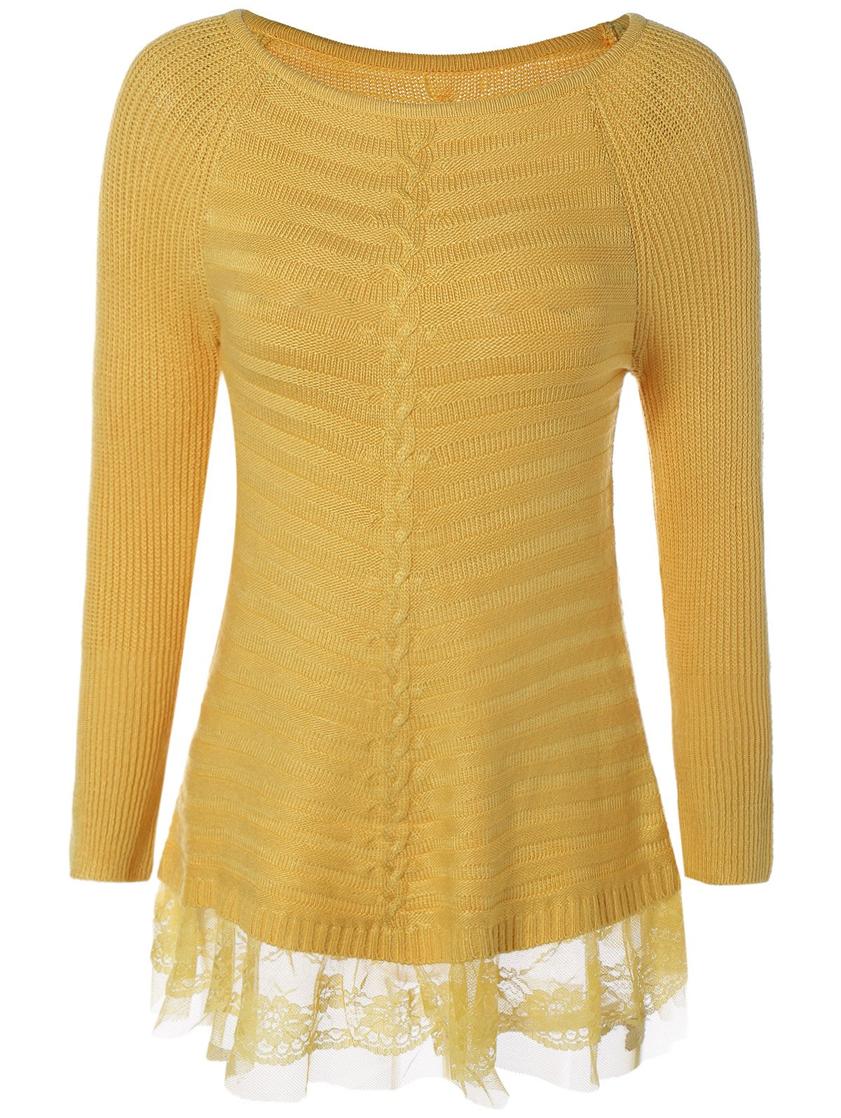 2017 Lace Insert Pullover Cable Knit Sweater YELLOW ONE SIZE In ...