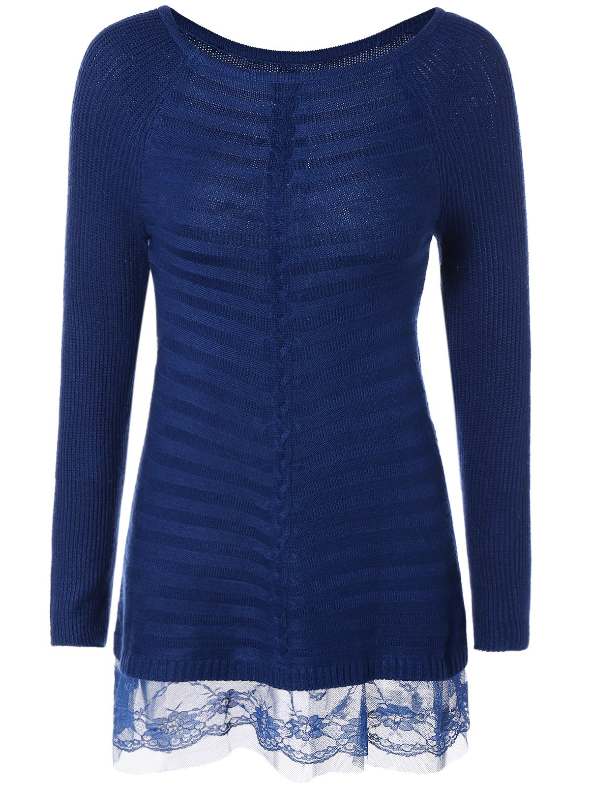Lace Insert Pullover Cable Knit Sweater, BLUE, ONE SIZE in ...