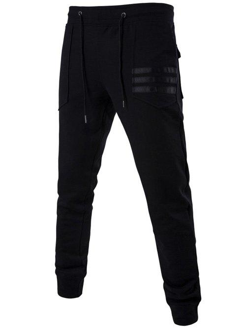 Mid Rise Patch Pocket Drawstring Jogger Pants mid rise zip pocket drawstring jogger pants