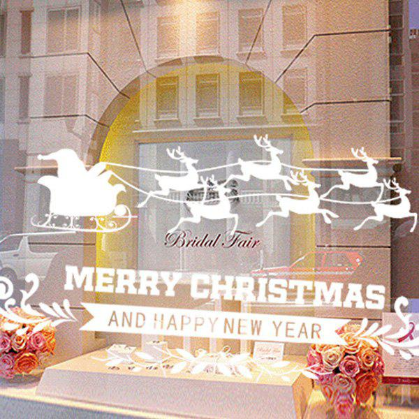 Merry Christmas Deer Removable DIY Glass Window Showcase Wall Stickers merry christmas santa claus diy wall stickers glass showcase decor