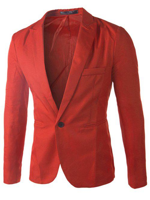 Casual Single Button Collier sur mesure Blazer en couleur solide pour hommes - Rouge 3XL
