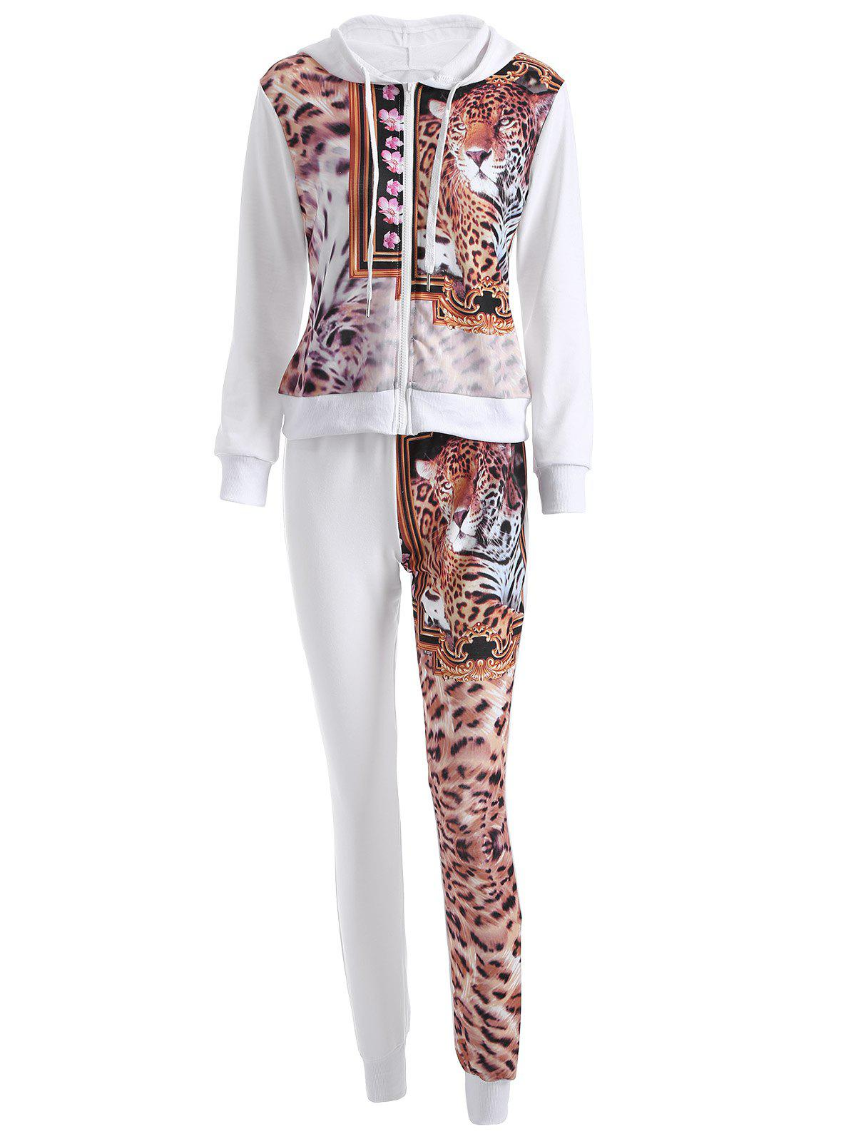 Leopard Drawstring Hoodie and Pants Set - WHITE S