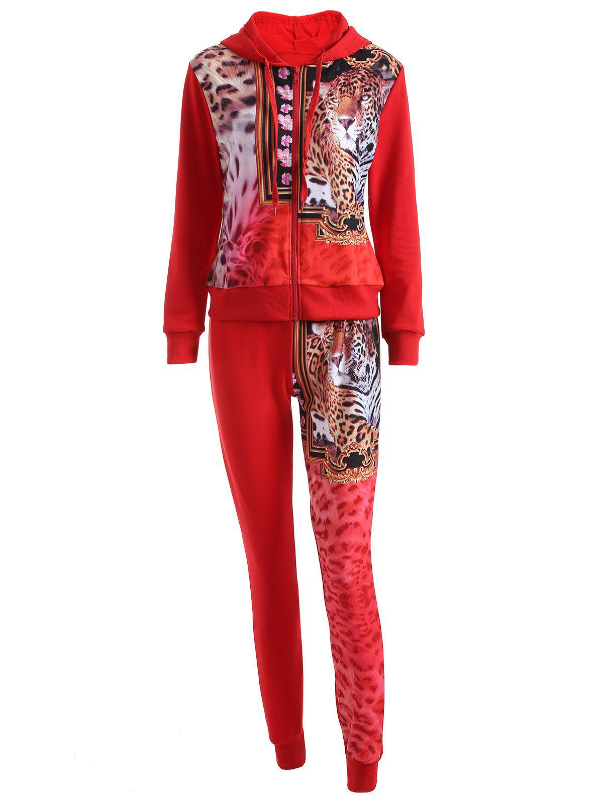 Leopard Drawstring Hoodie and Pants Set - RED L