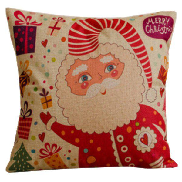Decorative Colorful Cartoon Santa Claus Soft Pillow Case - RED