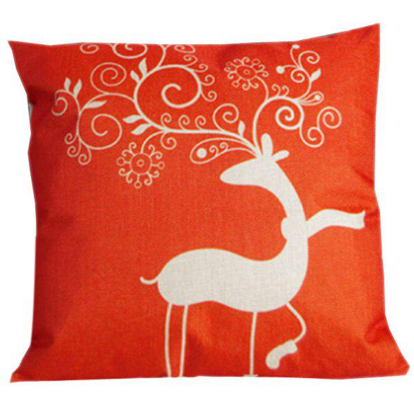 Soft Festive Christma Deer Sofa Bed Pillow Case - RED