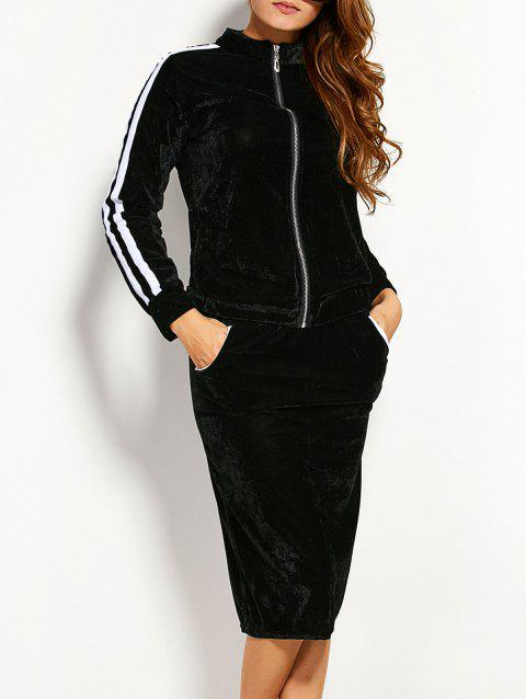 Cosy Pleuche Zipper Jacket With Pencil Skirt Twinset - BLACK L