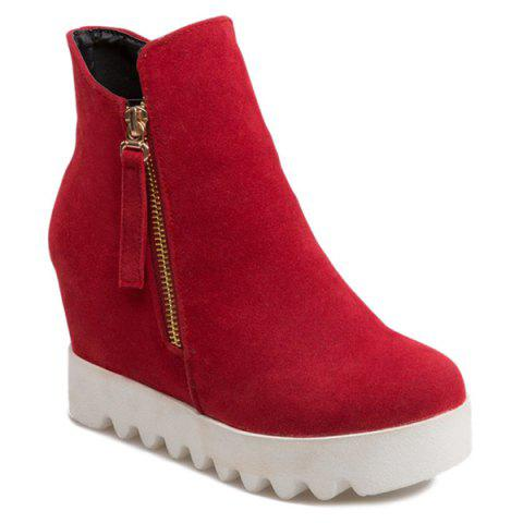 Hidden Wedge Platform Suede Ankle Boots - RED 38