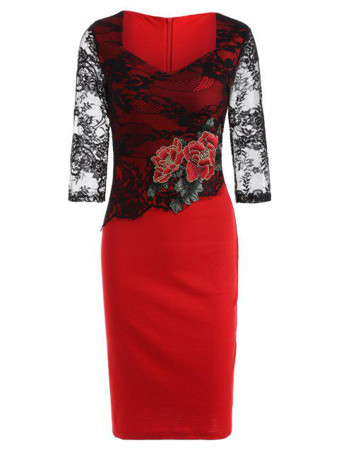 Rose Embroidered Lace Insert Pencil Sweetheart Dress - RED M