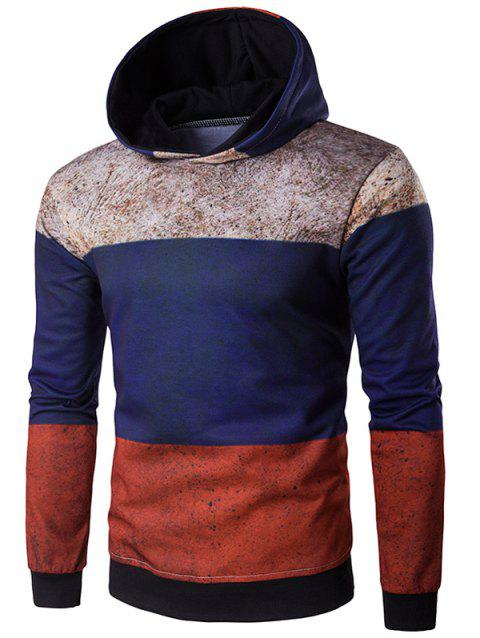 Color Block Spliced Rust Print Hoodie - COLORMIX M