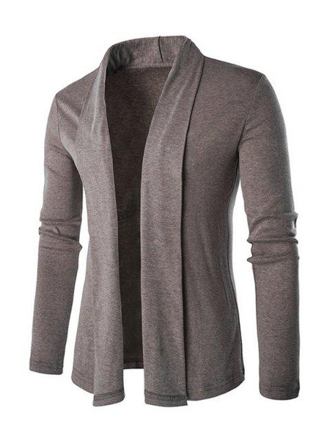 Shawl Collar Long Slim Cardigan - KHAKI L