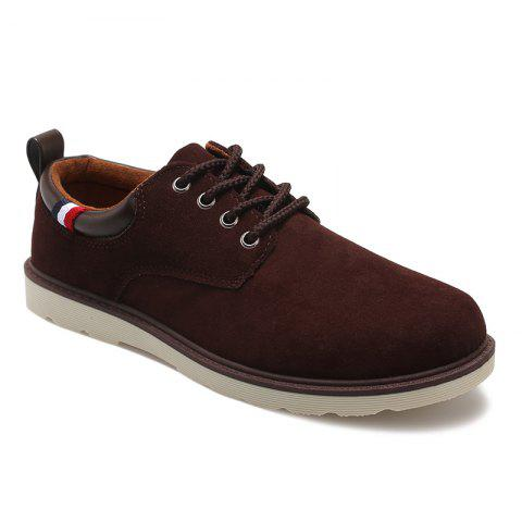 Lace Up Suede Casual Shoes - BROWN 43