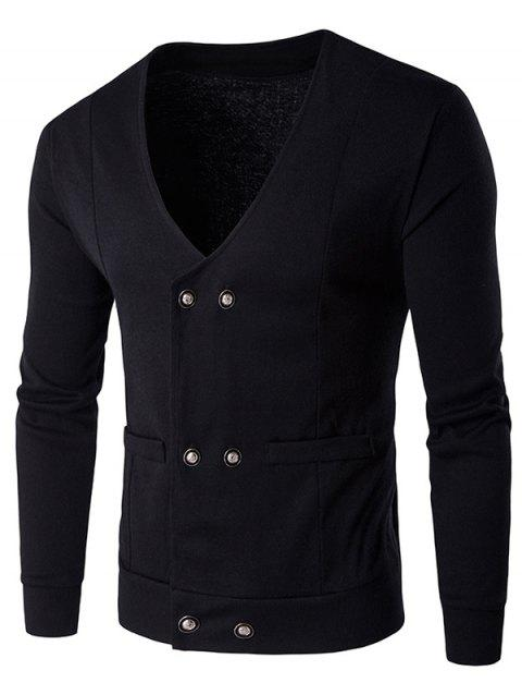 Double Breasted V Neck Knitting Cardigan - BLACK M