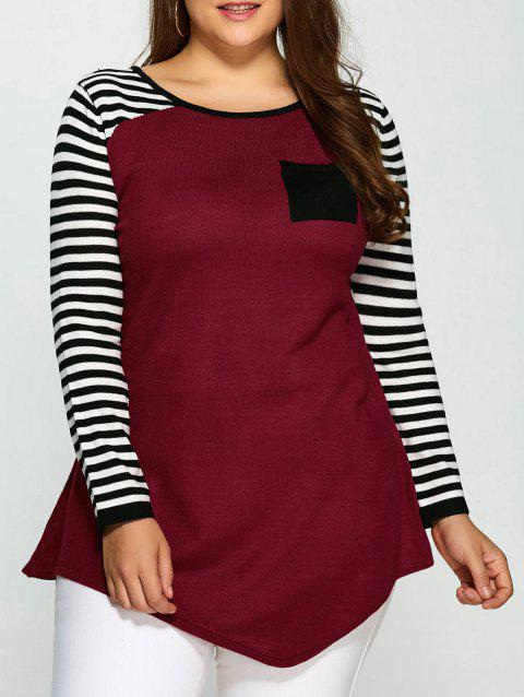 One Pocket Asymmetric Striped Plus Size Sweater - COLORMIX 5XL
