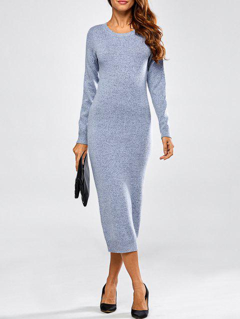 Cut Out Long Sleeve Fitted Midi Jumper Dress - BLUE ONE SIZE