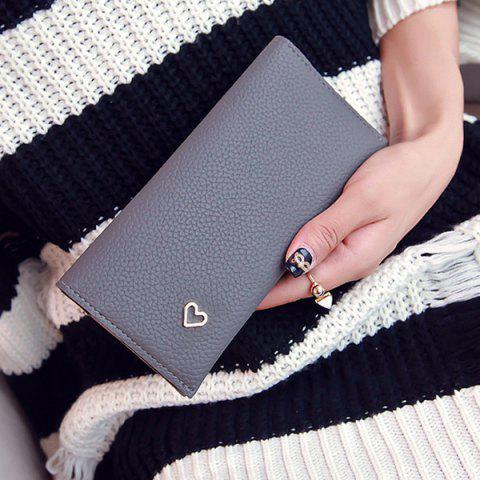 Snap Closure Textured Leather Heart Pattern Wallet - GRAY