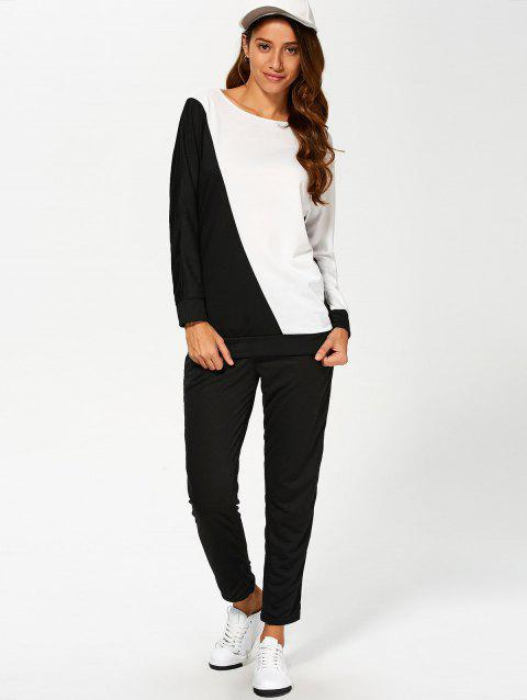 Color Block Sweatshirt Avec Pants Suit - Blanc et Noir L