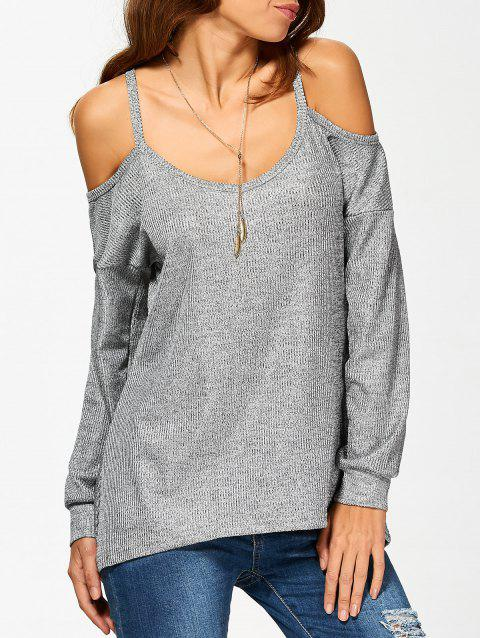 Long Sleeve Cold Shoulder T-Shirt - GRAY S