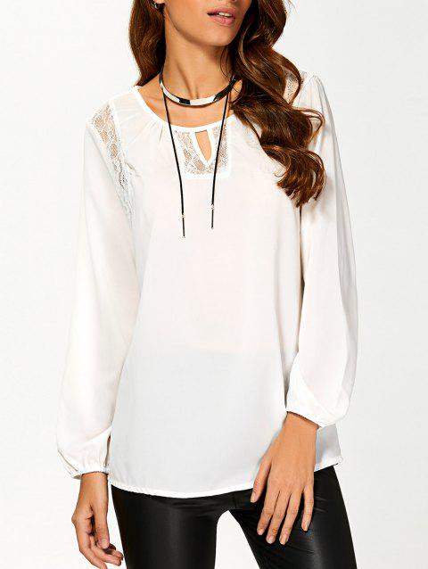 Cut Out Lace Splicing T-Shirt - WHITE M