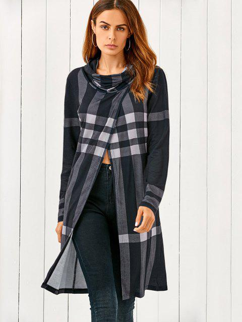 Cowl Neck Front Slit Plaid T-Shirt - CHECKED XL